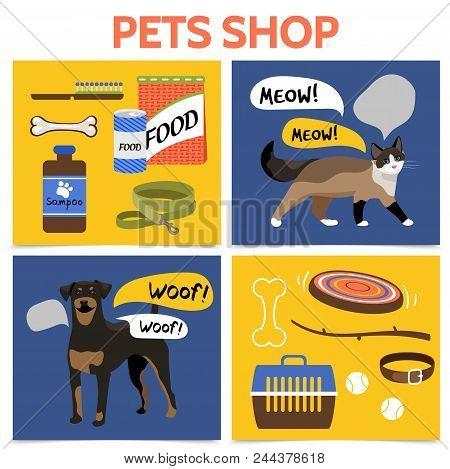 Flat Pet Shop Square Concept With Dog Cat Carrier Animal Food Toys Shampoo Comb Collar Leash Bones V