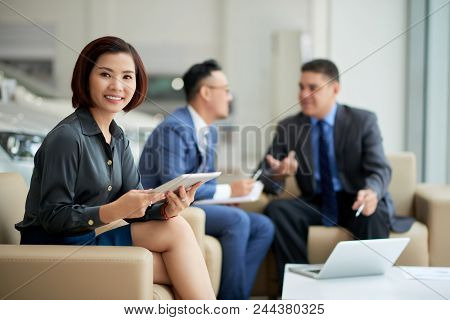 Attractive Asian Manager Posing For Photography With Charming Smile While Gathered Together At Car S