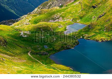 Glacier Lake Capra View From Above. Lovely Scenery Of Fagaras Mountains In Summer