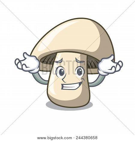 Grinning Champignon Mushroom Character Cartoon Vector Illustration