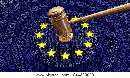 Judge Hammer Or Gavel Hitting Eu Data Bits And Bytes. Concept Of Gdpr Law, Breach And Monetary Penal