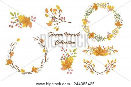 Vector Graphic Set With Four Beautiful Floral Wreaths. Colorful Collection For Greeting, Save The Da