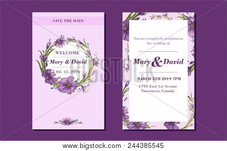 Beautiful Drawing Wreath. Invitation Card For The Wedding. Vector Illustration.