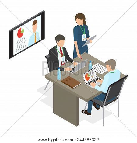 Business People At Table Deciding Working Issues. Vector Illustration Of Man Working On Laptop With