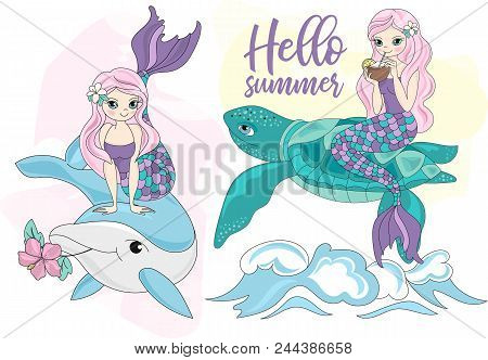 Sea Ocean Tropical Summer Vector Colorful Illustration Mermaid Turtle Art Projects, Prints, T-shirts