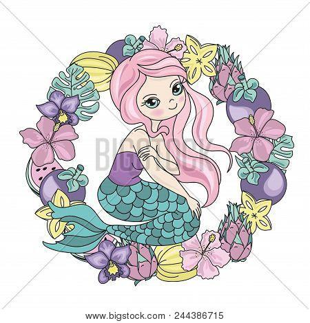 Sea Ocean Tropical Summer Vector Colorful Illustration Mermaid Fruits Art Projects, Prints, T-shirts