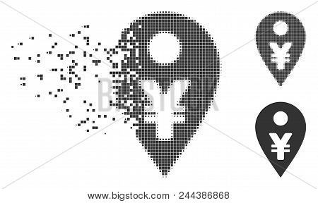 Dissolved Yen Map Marker Pixel Icon With Disintegration Effect. Halftone Dotted And Undamaged Whole