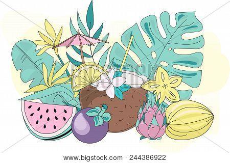 Sea Ocean Tropical Summer Vector Colorful Illustration Tropic Fruits Art Projects, Prints, T-shirts,