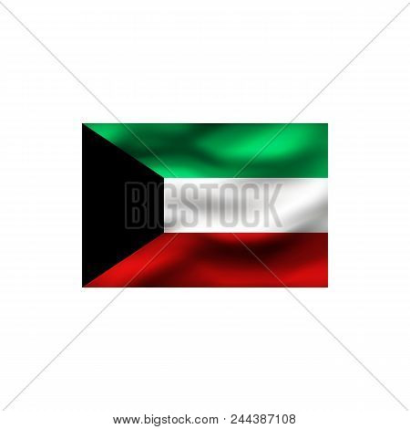 Flag Of Kuwait On White Background. Illustration.