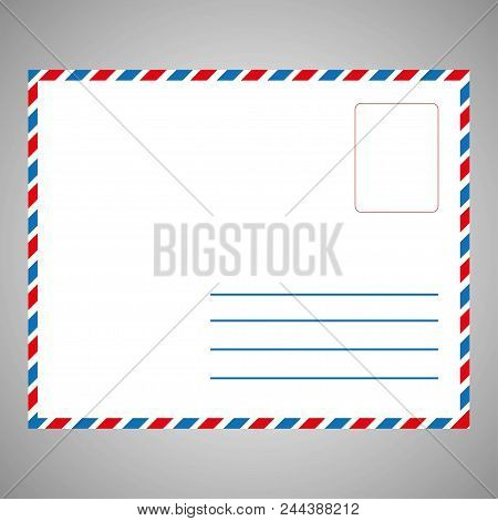 Single White Envelope Front , For Background. Envelope With Place Your Text. Concept Of Postal Devel