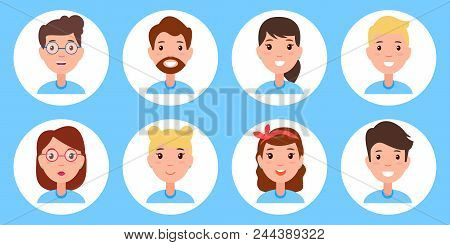 Persons Collection Icon Set, People Collection With Glasses And Beard, Men And Women, Circles Person