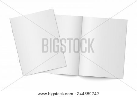 Vector Mockup Of Two Thin Books With Soft Cover Isolated. Gray Vertical Magazine, Brochure Or Bookle
