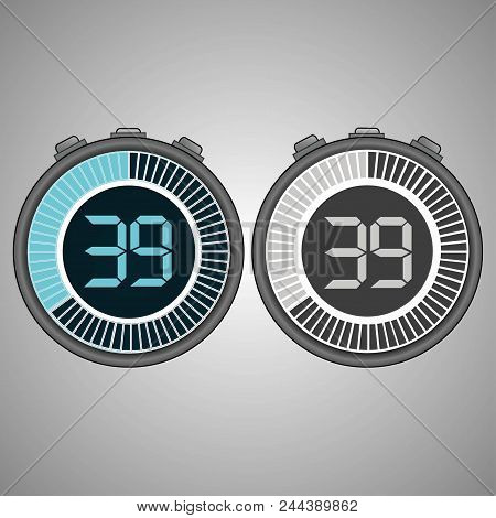 Electronic Digital Stopwatch. Timer 39 Seconds Isolated On Gray Background. Stopwatch Icon Set. Time
