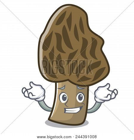 Grinning morel mushroom character cartoon vector illustration poster