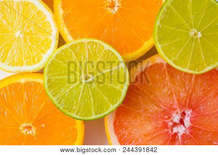 Assorted Sliced Fresh And Colourful Citrus Fruits