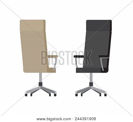 Soft Comfortable Leather Office Chairs On Wheels With High Backs Of Beige And Black Colors Isolated