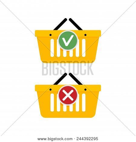 Add Purchase In Basket And Delete Icons. Online Supermarket Cart Purchase Element, Illustration Vect