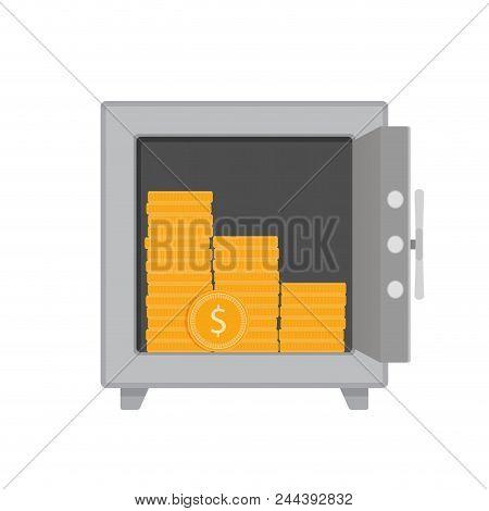 Golden Coins In Safe. Money Storage Vector. Safe With Cash, Money Gold Storage Illustration