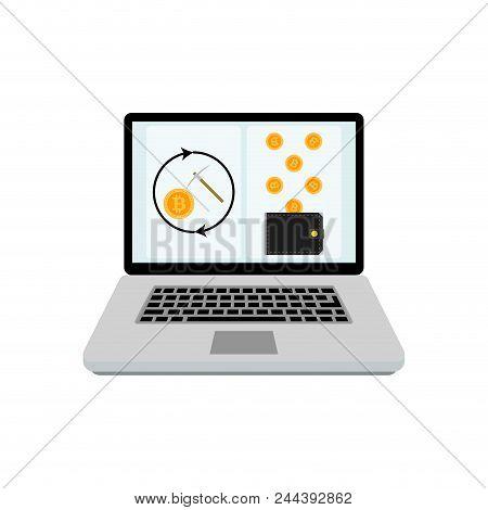 Mining Bitcoin Laptop. Vector Finance Coin Mining, Internet Technology Exchange Illustration