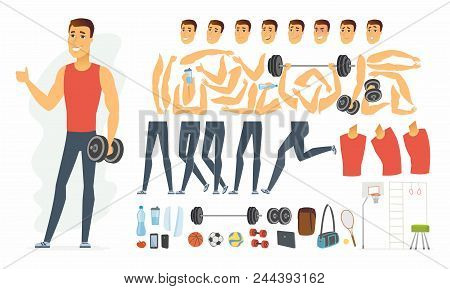 Sportsman - Vector Cartoon People Character Constructor Isolated On White Background. Set Of Body Pa