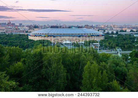 Moscow, Russia - June 06: The View Of Luzhniki Stadium From Sparrow Hills Observation Deck, The Main