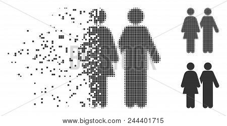Fractured Adult Pair Dotted Icon With Disintegration Effect. Halftone Pixelated And Undamaged Solid