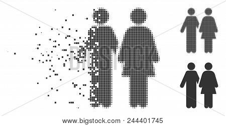 Dispersed Adult Pair Dotted Icon With Disintegration Effect. Halftone Dotted And Intact Solid Grey V