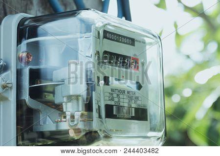 Electric Power Meter Measuring Power Usage. Watt Hour Electric Meter Measurement Tool.