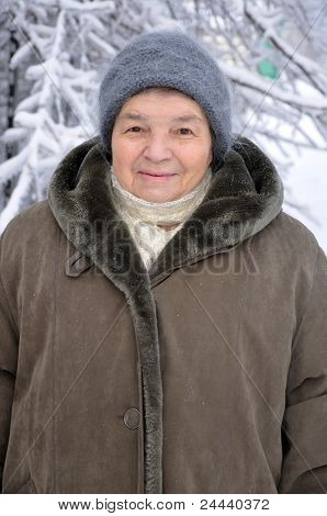 Portrait Of An Old Woman In Winter