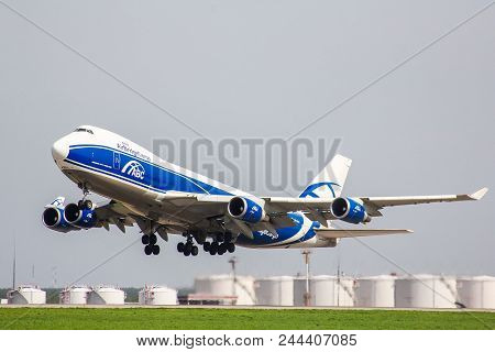 Moscow, Russia - May 10, 2013: Airbridgecargo Boeing 747-400erf Takes Off The Domodedovo Internation