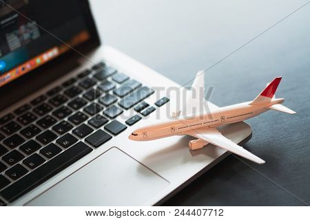 Travel Holiday Vacation Traveling Laptop Technology Concept, Travel Planning Concept