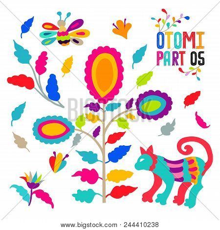 Vector Folk Mexican Otomi Style Embroidery Pattern Set. Folk Embroidery Ornament Elements