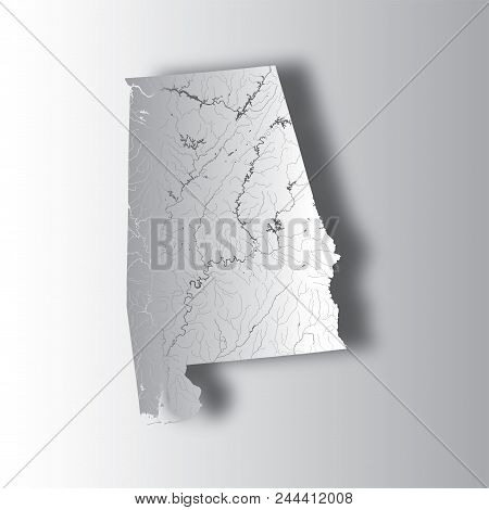 U.s. States - Map Of Alabama With Paper Cut Effect. Hand Made. Rivers And Lakes Are Shown. Please Lo