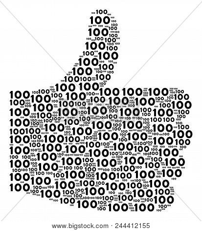 Good Mark Figure Constructed With 100 Text Objects In Different Sizes. Abstract Vector Thumb Finger