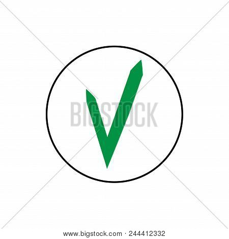 Tick Green Sign. Isolated On White Background. Symbol Correct In Green Circle. Positive Marks. Agree