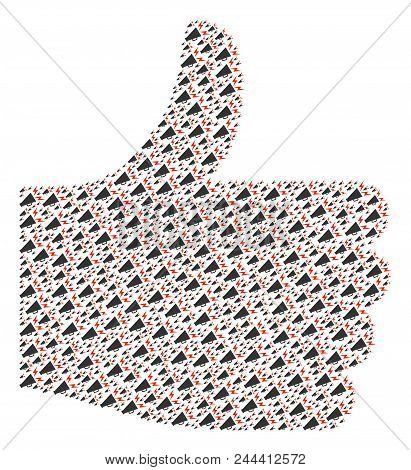Confirm Figure Made From Alert Megaphone Elements In Various Sizes. Abstract Vector Thumb Up Represe