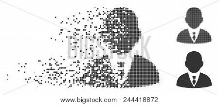 Dispersed Boss Dotted Icon With Disintegration Effect. Halftone Pixelated And Undamaged Entire Grey