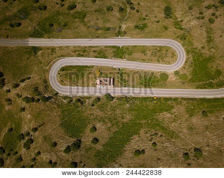 Aerial View Of A Mountain Route With Curves Near To Etna Volcano, Sicily, Italy. Ruined Building And