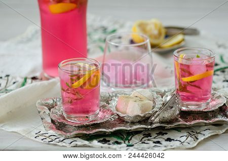 Turkish Delight And Turkish Traditional Ottoman Ramadan Sherbet. Fresh Sherbet  With Lemon,sweet Bas