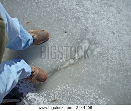 Standing On Frozen Lake