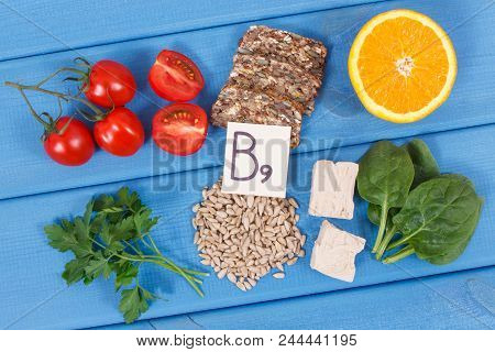 Nutritious products containing vitamin B9, natural sources of minerals and folic acid, concept of healthy nutrition poster
