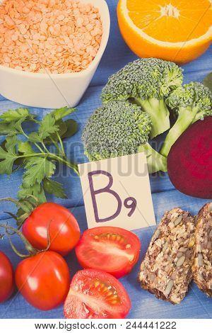 Vintage photo, Nutritious different ingredients containing vitamin B9, dietary fiber, natural minerals and folic acid, concept of healthy nutrition poster