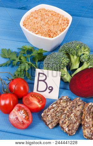 Nutritious different ingredients containing vitamin B9, dietary fiber, natural minerals and folic acid, concept of healthy nutrition poster