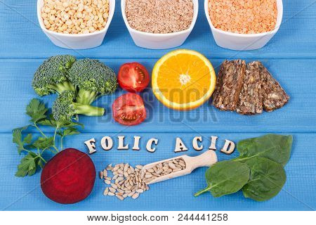 Inscription folic acid with nutritious different ingredients containing vitamin B9, dietary fiber and natural minerals, concept of healthy nutrition poster