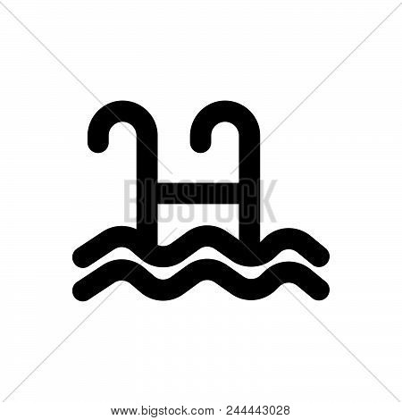 Swimming Pool Vector Icon On White Background. Swimming Pool Modern Icon For Graphic And Web Design.