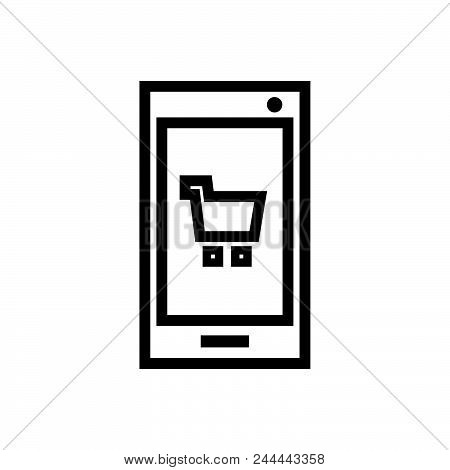 Shopping App Vector Icon On White Background. Shopping App Modern Icon For Graphic And Web Design. S