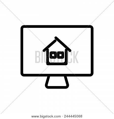 Buy Property Online Outlined Symbol Of Purchase House Online. Property Online Icon. Property Online