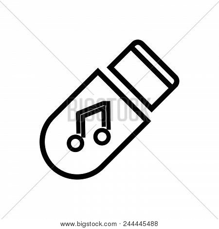 Music Storage, Outlined Symbol Of Multimedia Storage. Music Storage Icon. Music Storage Icon. Music