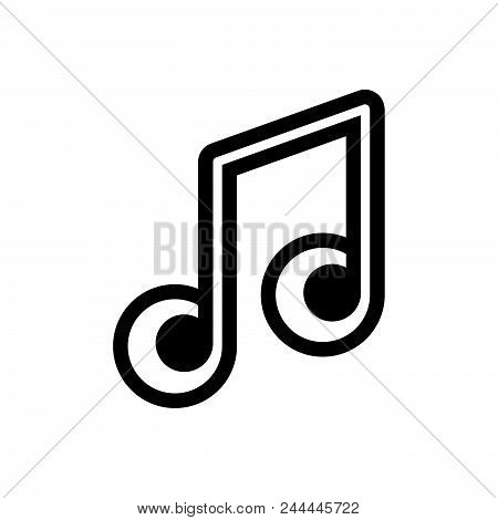 Musical Notes Vector Icon On White Background. Musical Notes Modern Icon For Graphic And Web Design.