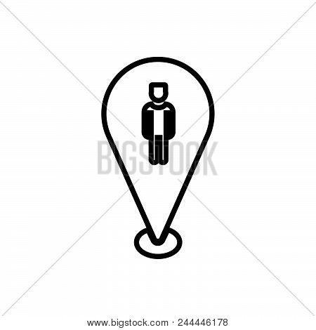 Character Location Vector Icon On White Background. Character Location Modern Icon For Graphic And W